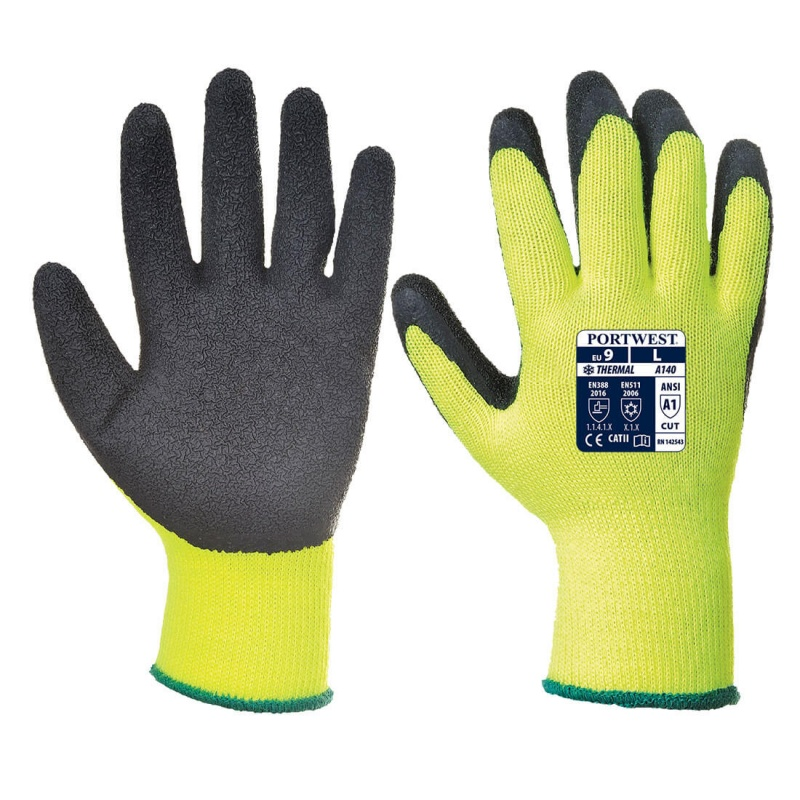 Portwest Thermal Grip Black and Yellow Gloves A140BK