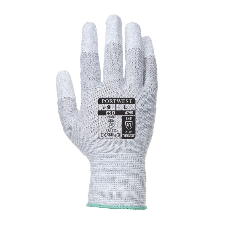 Portwest Antistatic PU Fingertip Gloves A198GR