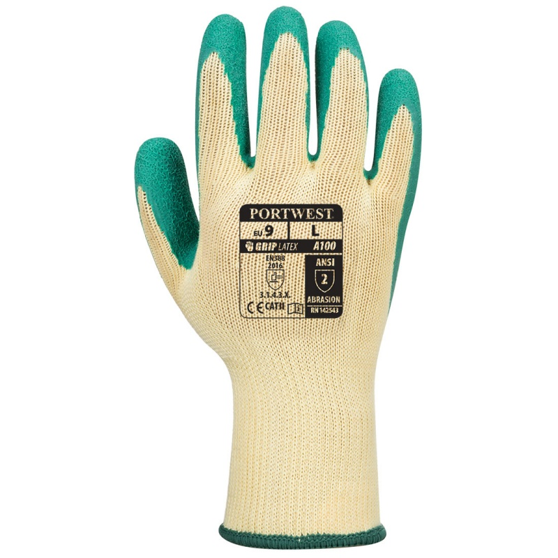Portwest Latex Green Grip Gloves A100