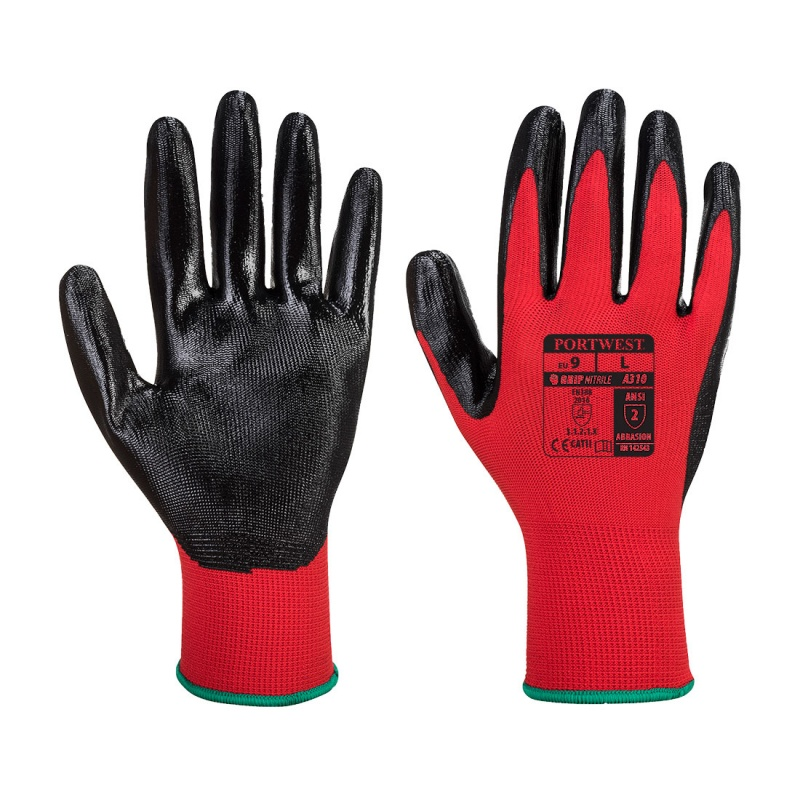 Portwest Nitrile Red and Black Grip Gloves A310R8R