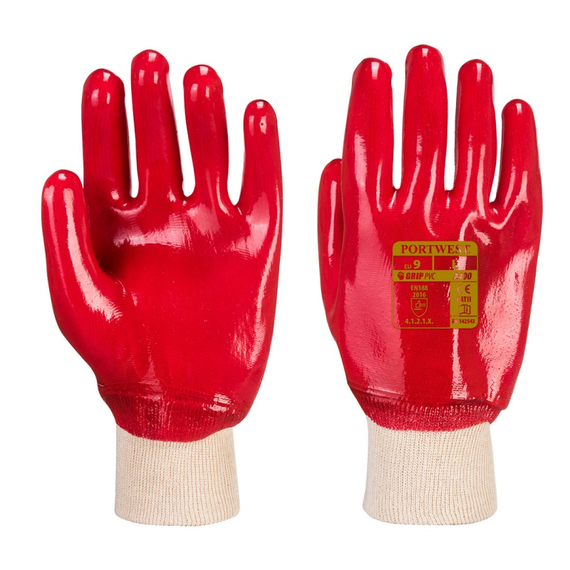 Portwest Oil-Resistant PVC Red Gloves A400RE