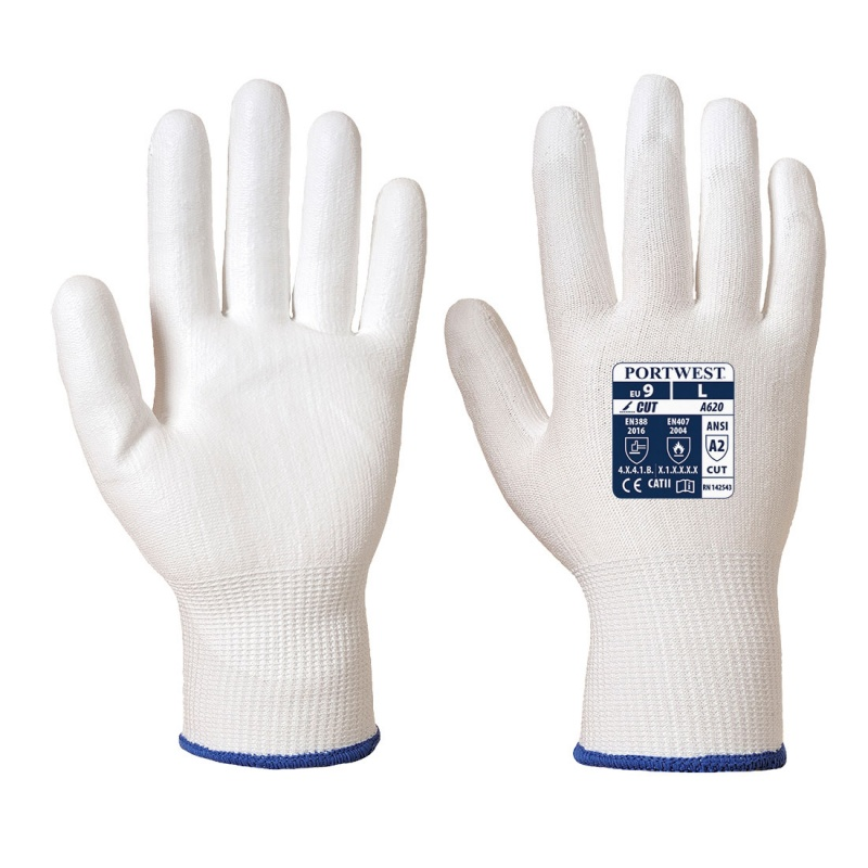 Portwest White PU Palm-Coated Handling Gloves A620W6