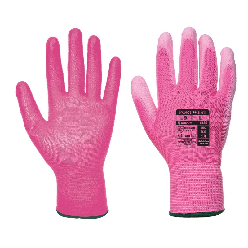 Portwest Pink PU Palm Gloves A120