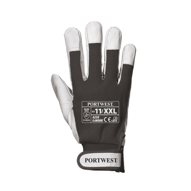 Portwest Tergsus Black Leather Work Gloves A250BK