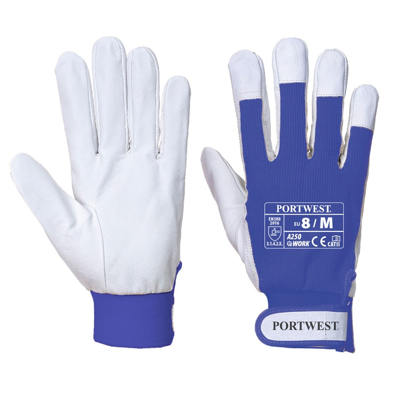Portwest Tergsus Blue Leather Work Gloves A250BL