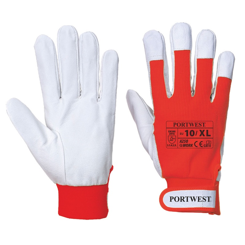 Portwest Tergsus Red Leather Work Gloves A250RE
