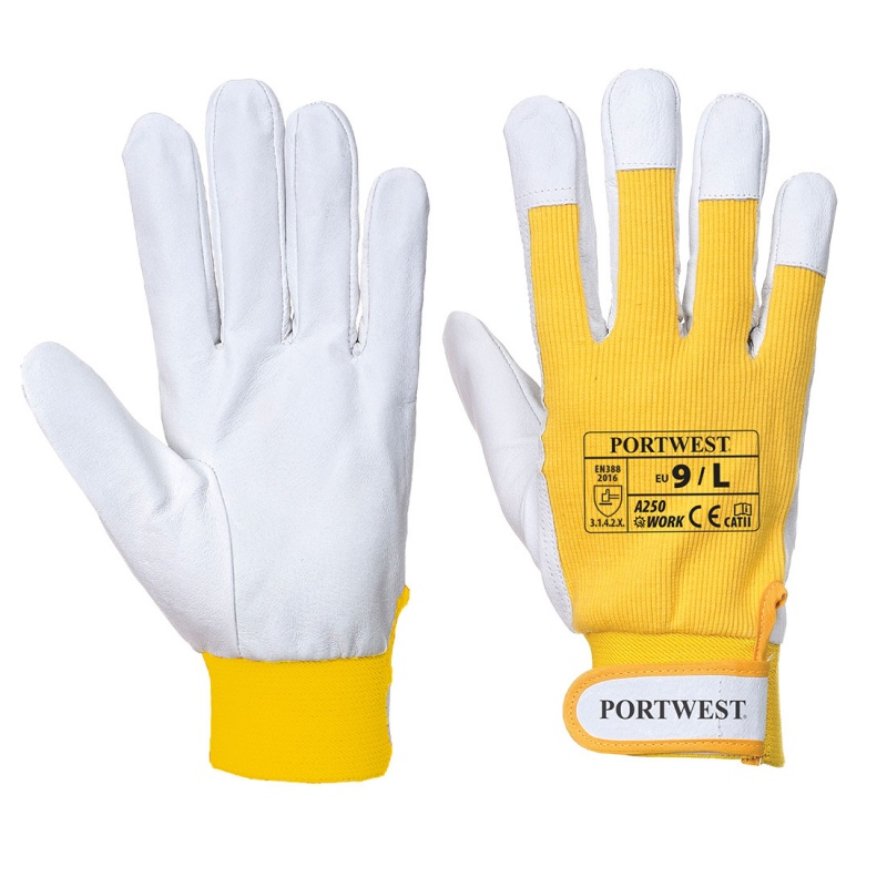 Portwest Tergsus Yellow Leather Work Gloves A250YE