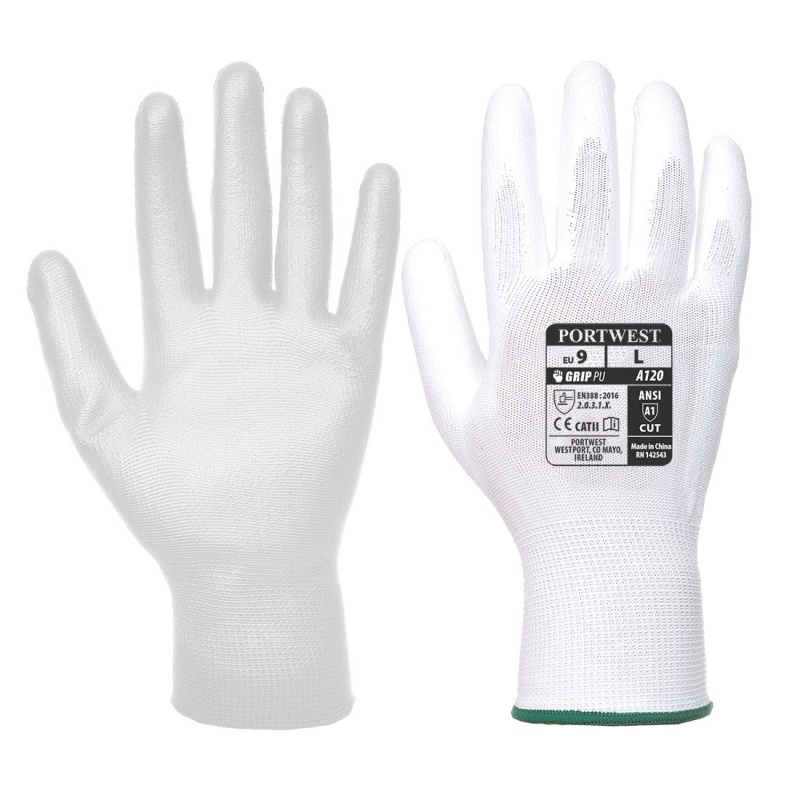 Portwest White PU Palm Gloves A120