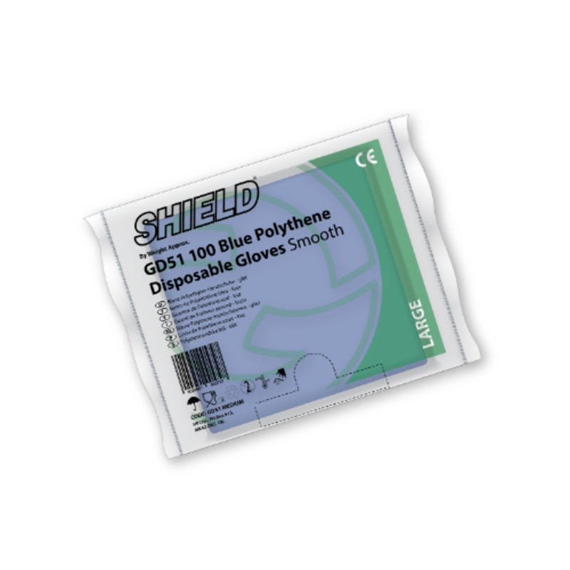 Shield GD51 Blue Smooth Polythene Disposable Gloves