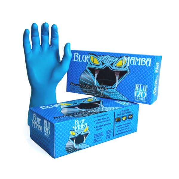 Blue Mamba Disposable Nitrile Gloves BX-BLU