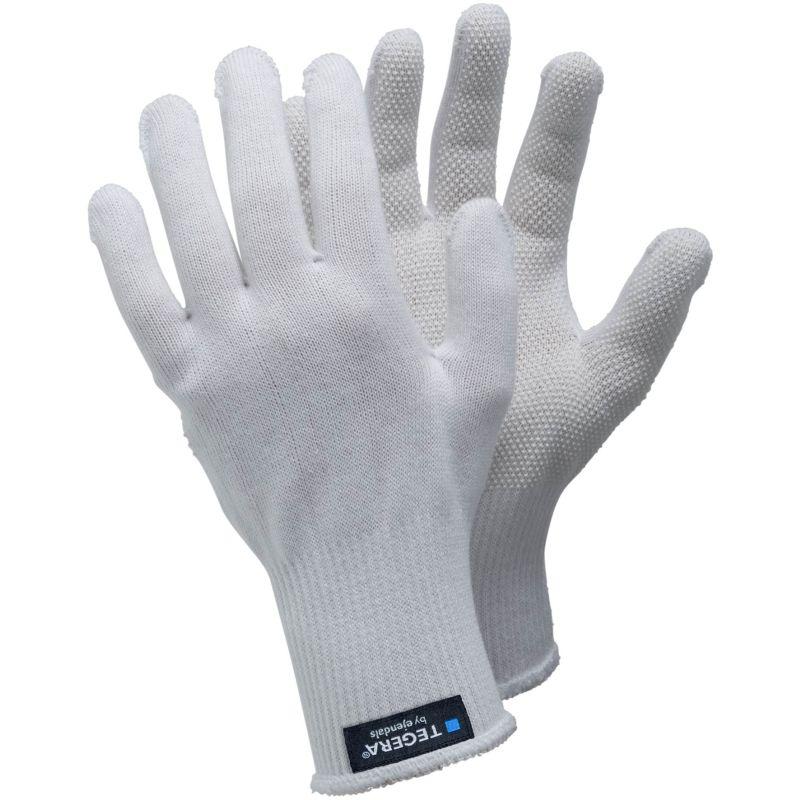 Ejendals Tegera 921 White Cotton PVC Grip Gloves