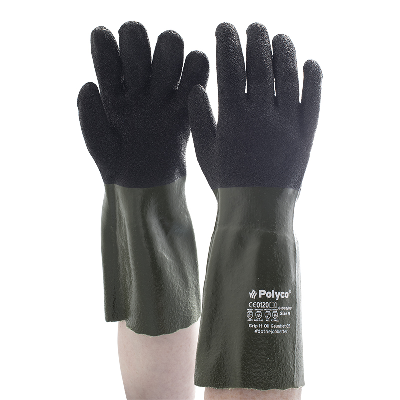 Polyco Grip It Oil Gauntlet Gloves GIOG5