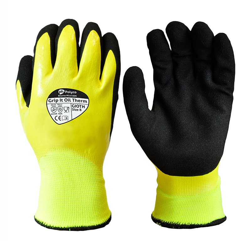 Polyco Grip It Oil Therm Hi-Vis Waterproof Gloves GIOTH