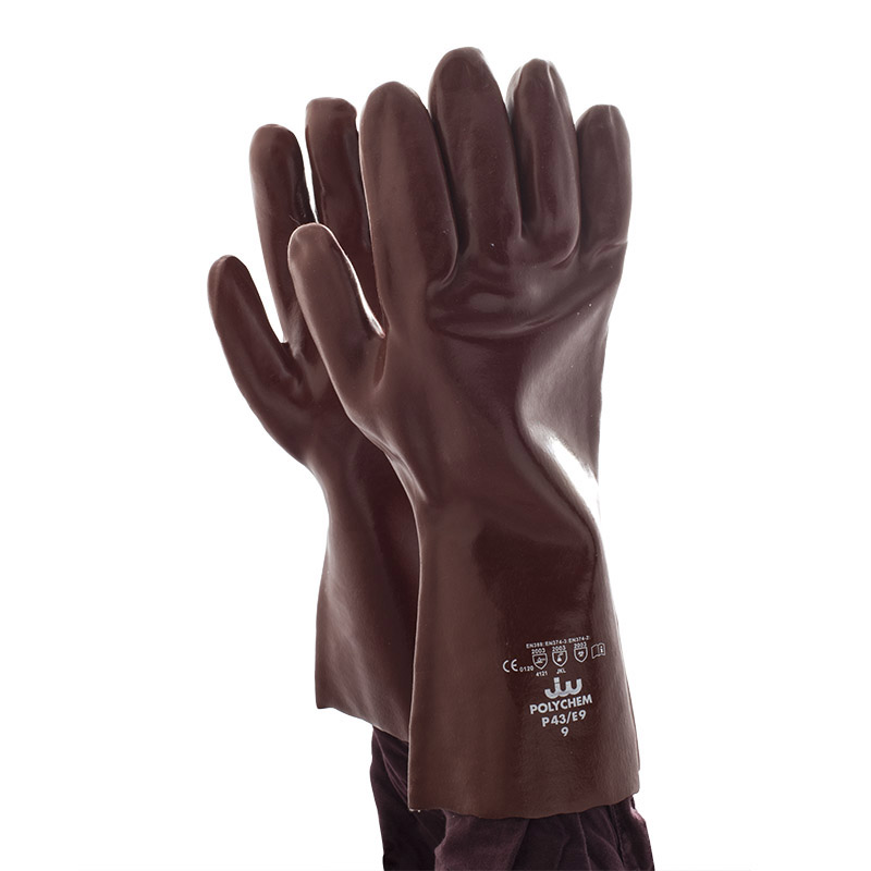 Polyco Polychem Heavyweight Red PVC Chemical Resistant Gauntlets