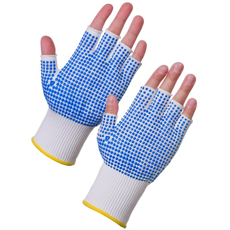 Supertouch 3022 Fingerless Assembly Gloves with PVC Dotted Palm